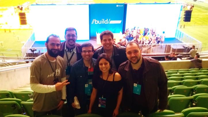 Da esquerda para a direita: Marlon Luz (Microsoft), Thiago Chati, João Cunha, Patrick Tedeschi, Alessandra Rosa e Diego Castro (Eldorado)