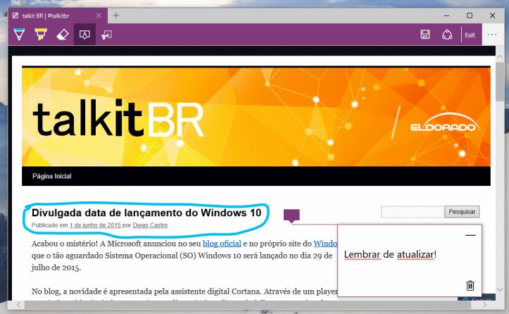 Browser Microsoft Edge com Recurso de Anotação