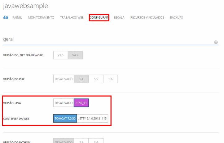 Configurando nosso Aplicativo Web para utilizar Java e Tomcat