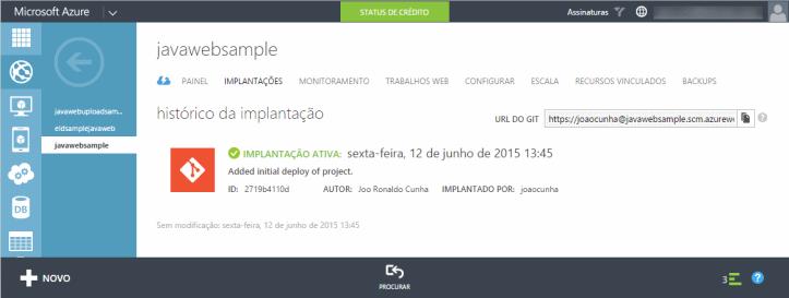 Implantação automática do projeto no Aplicativo Web