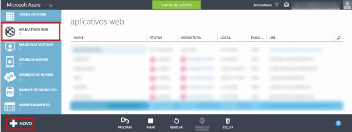 Criando nova Aplicação Web no Azure