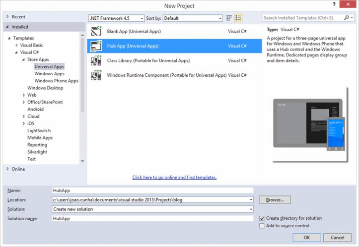 "Template ""HubApp"" do projeto Universal App do Visual Studio"