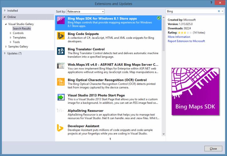 Adicionando extensão do Bing Maos SDK