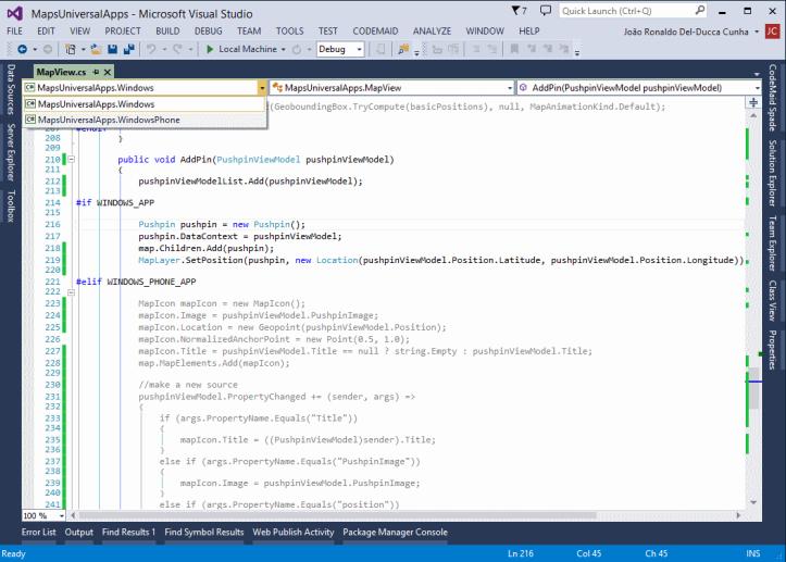 Chaveando entre projetos Windows e Windows Phone.