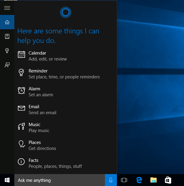 O que posso falar para a Cortana?