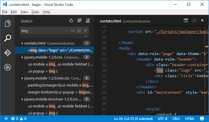 Busca dentro do Visual Studio Code