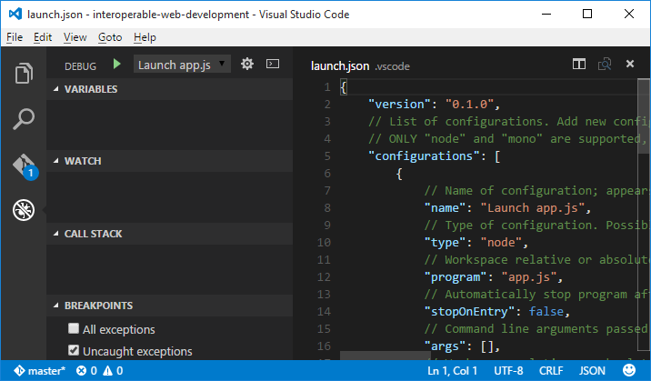 Depuração no Visual Studio Code