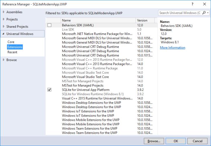 Adicionando extensão para projeto Universal Windows (Windows 10)