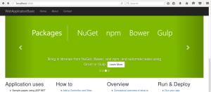 Screenshot de uma aplicação web utilizando ASP.NET Core 1.0